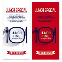 set of brochures with lunch time images