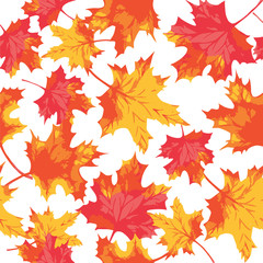 Seamless pattern of watercolor maple leaves. Autumn pattern. Vector Illustration