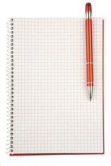 Open blank checked notebook with red pen isolated on white backg