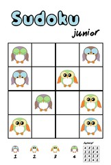 Picture sudoku with cute owls. Answer included
