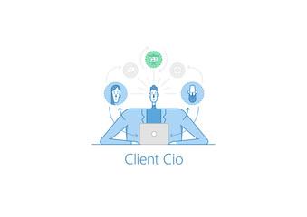 Vector outline illustration about client CIO, CEO outline illustration, CEO icon, CEO flat, client business with thin Contour Line Design.