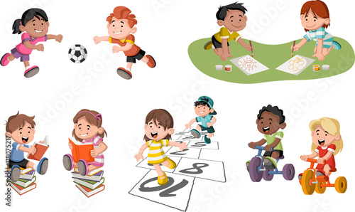 cute happy cartoon children playing sports and toys - Free Children Cartoon