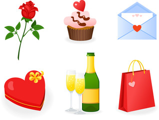 St. Valentine's Day icons set with rose, cupcake, letter, chocolate box, champagne and bag