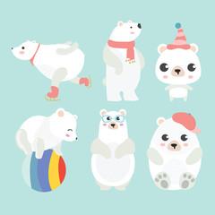 Cute cartoon polar bear in different poses.