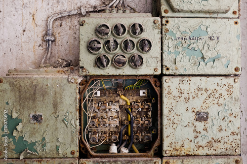 vintage electric panel or fuse box\