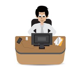 cartoon employee on working hard
