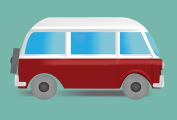 picture of oldstyle minivan in white and red colors on green background.