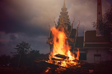 Foto op Aluminium Noorderlicht Fire and flames.