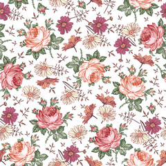 Seamless pattern. Beautiful pink blooming realistic isolated flowers. Vintage background. Chamomile Rose wildflowers. Wallpaper. Drawing engraving. Vector victorian Illustration.