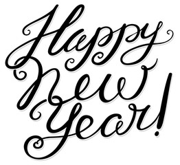 Happy New Year hand drawn lettering composition.