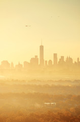New York City sunrise silhouette