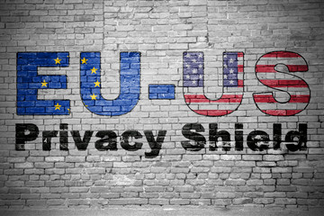 EU-US Privacy Shield Ziegelsteinmauer Graffiti