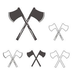 Crossed axes silhouettes set for logo, design emblems, templates. vector