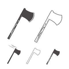 Axes silhouettes set for logo, design emblems, templates. vector