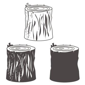 Stumb silhouettes set vector illustration