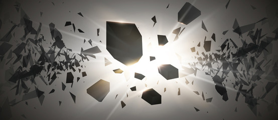 Powerful burst. Black particles on dark background. Explosion cloud of black pieces with glow lights. Vector
