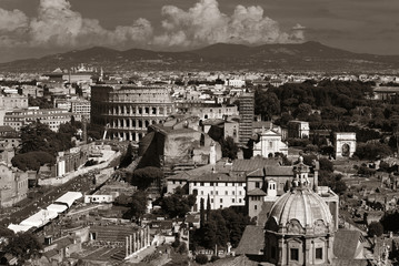 Rome city rooftop view