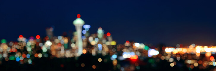 Wall Mural - Seattle city skyline night
