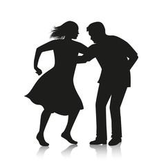 silhouette of couple dancing Latino dance salsa