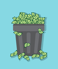 wastebasket filled with packs of dollars on a blue background