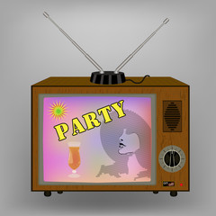 Retro TV . Advertising with a cocktail party on TV. switches and antenna. vector illustration .