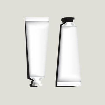 White aluminum tubes for packaging. Mock up ready For Your Design. Vector Illustration