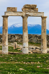 The ruins of the ancient roman city of Hierapolis in Pamukkale, Turkey