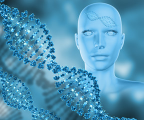 3D medical background with female head and DNA strands