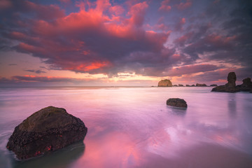 colorful morning clouds at beach