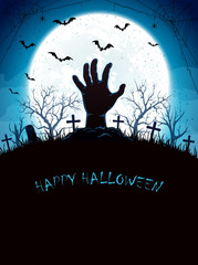 Blue Halloween background with Moon and hand on cemetery
