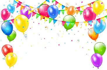 Birthday background with balloons and pennants on white