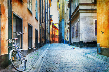 Poster de jardin Stockholm Authentic narrow streets of old town of Stockholm, Sweeden