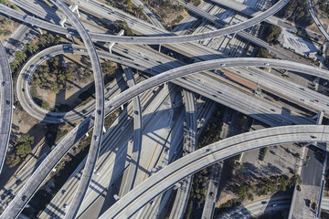 Los Angeles 110 and 105 Freeway Interchange Ramps Aerial