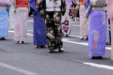 Chic Kimono dress and foot wear, Japan.