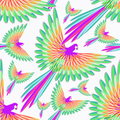 seamless pattern red Caribbean parrot flying.