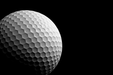 Golf Ball on Black Background, 3D Rendering