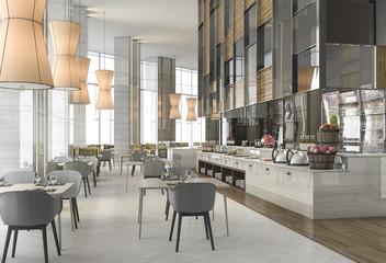 Fototapeta 3d rendering nice restaurant with elegant decoration obraz
