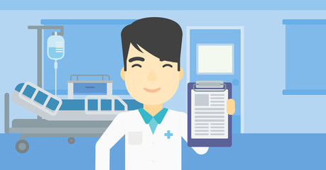 Doctor with clipboard vector illustration.