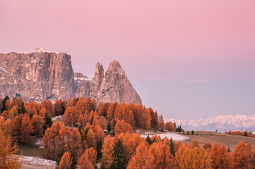 Aluminium Prints Light pink Autumn Landscape with Mountains