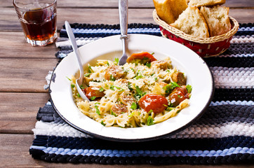Farfalle pasta with sausage