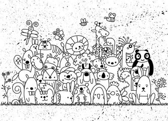 Hand Drawn Vector Illustration of Doodle funny animal, illustrat