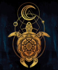 Ornate turtle in tattoo style with moon.