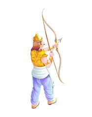 A warrior holds bow and arrow