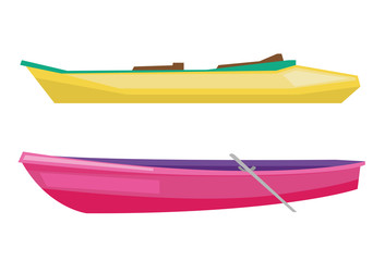 Rowing boat with paddles and canoe.