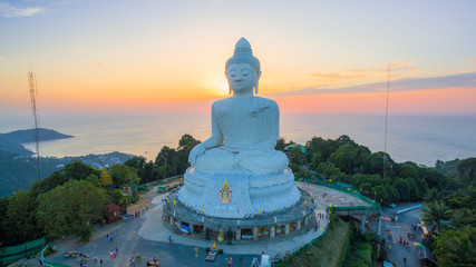 Aerial view the beautify Big Buddha in Phuket island. most important and revered landmarks on the island. The huge image sits on top of the hill it is easily seen from far away