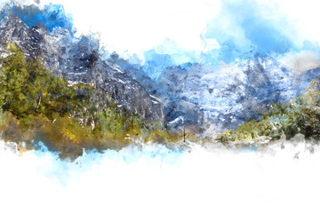 Abstract mountains landscape on white background, digital waterc