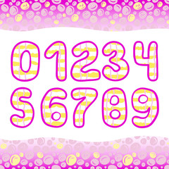 Pink Hand Drawn numbers 1234567890 in