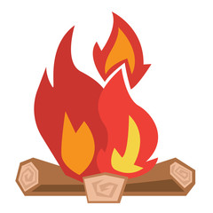 Camp fire vector illustration.