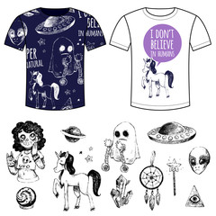 Set mystical objects and T-shirts with prints.