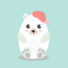 Cute Polar Bear in top hat.